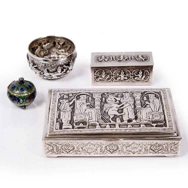 A Siamese silver metal rectangular small box