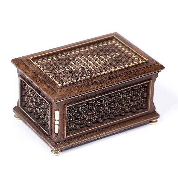 A Mashrabiya ivory and wood beads box