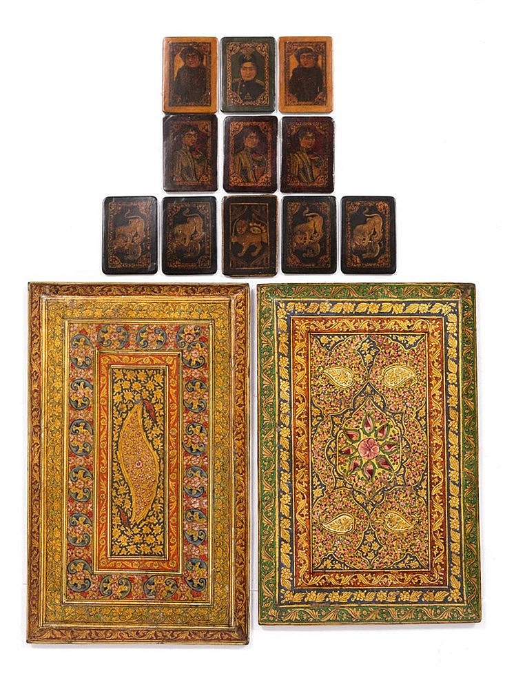 A pair of hand painted Qajar panels