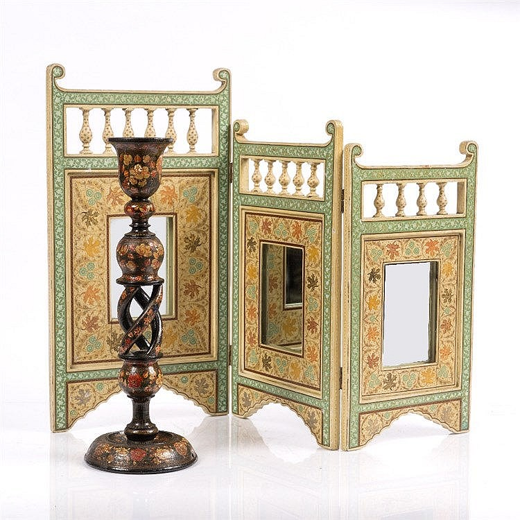 A Kashmir painted folding dressing table mirror