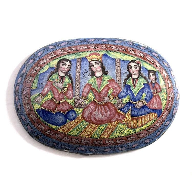 A Qajar polychrome enamelled plaque