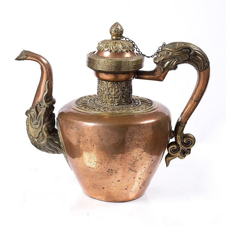 A Tibetan large copper and brass Bhumpa (teapot)