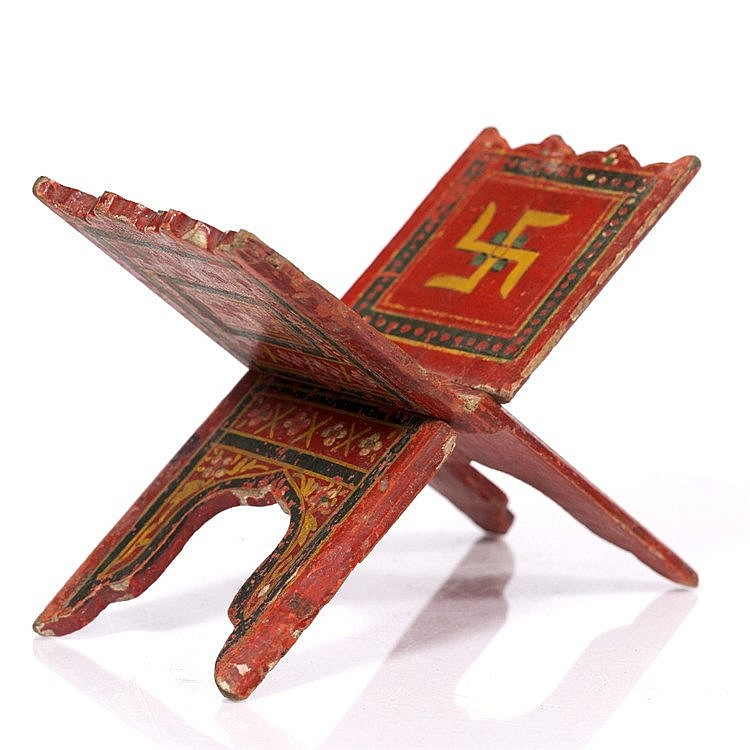 An Indian polychrome painted manuscript stand