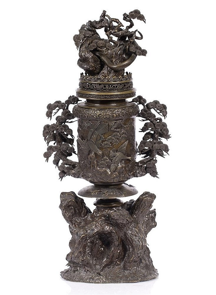 A Japanese bronze censer and cover