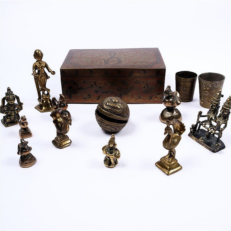 A collection of Indian and Benin bronze weights