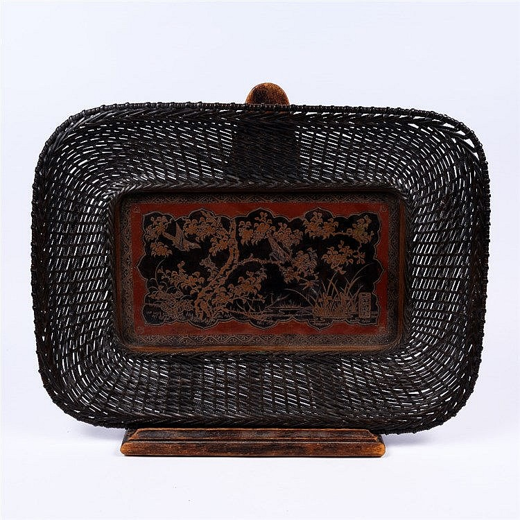 A Japanese bronze tray