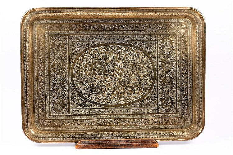 A Qajar engraved rectangular brass tray