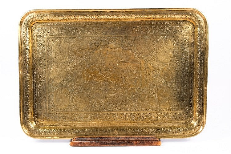A Qajar engraved rectangular brass tray