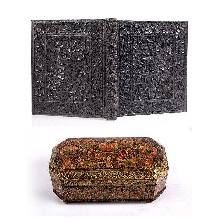 An Indian papier-mâché box