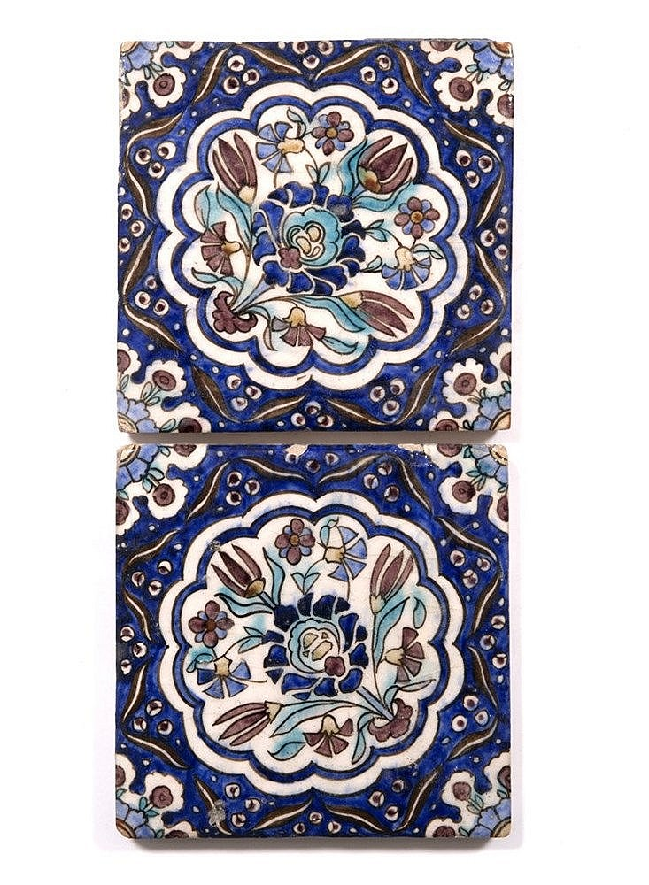 A pair of Qajar tiles