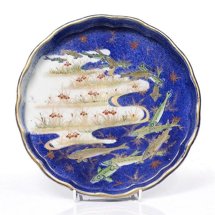 A Japanese Fukugawa Imari style shallow wavy edged bowl
