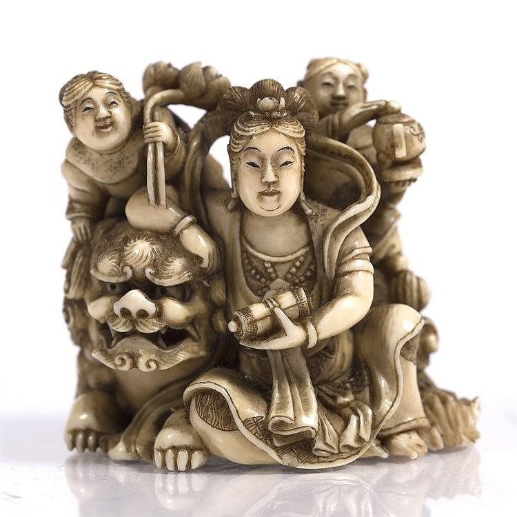 A Japanese ivory okimono of Benzaiten (Goddess of Love)