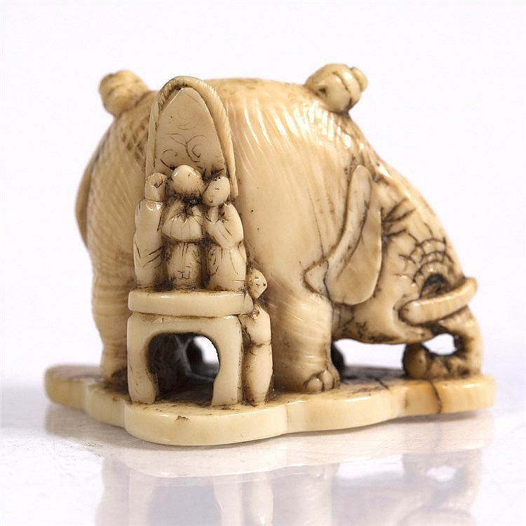 A Japanese ivory netsuke of an elephant