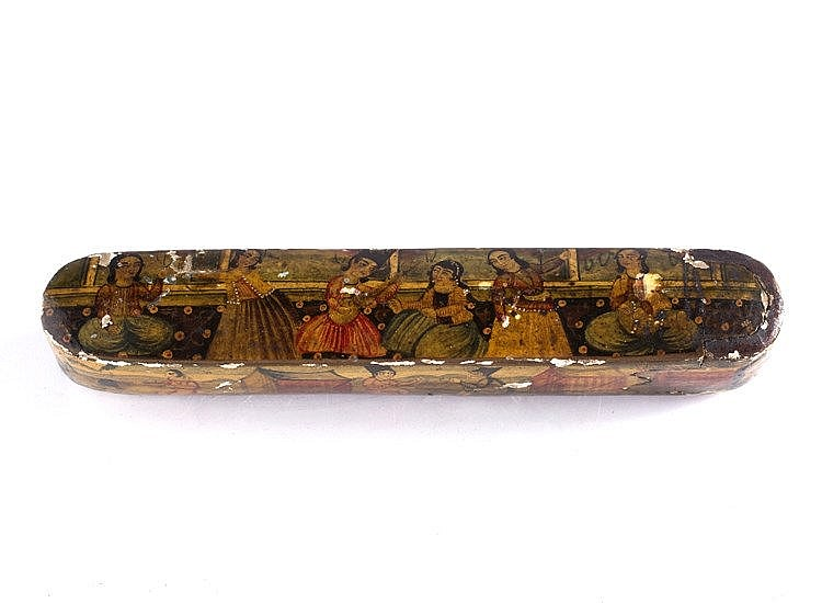 A Persian Qajar papier-mache pen box (Qalamdan)