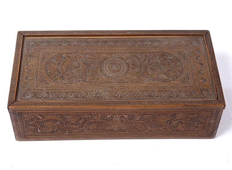 An Indian sandal wood carved box