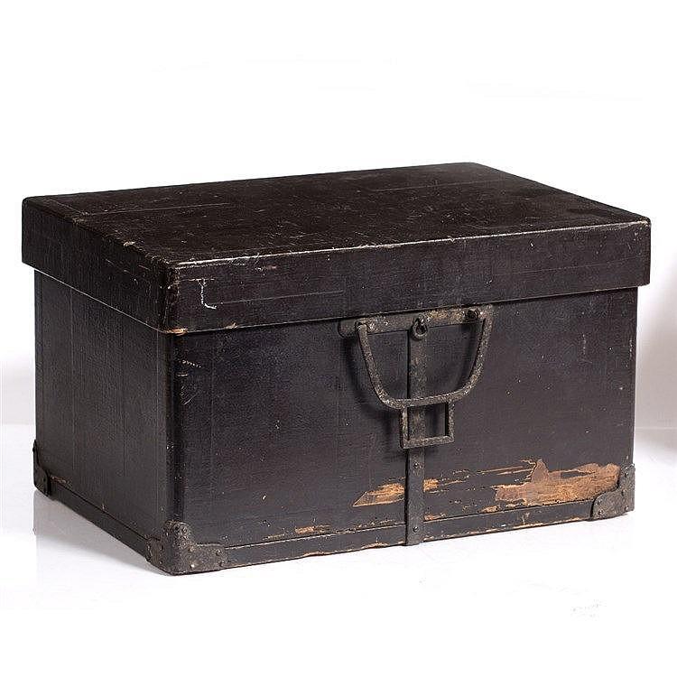 A Japanese black lacquer helmet box