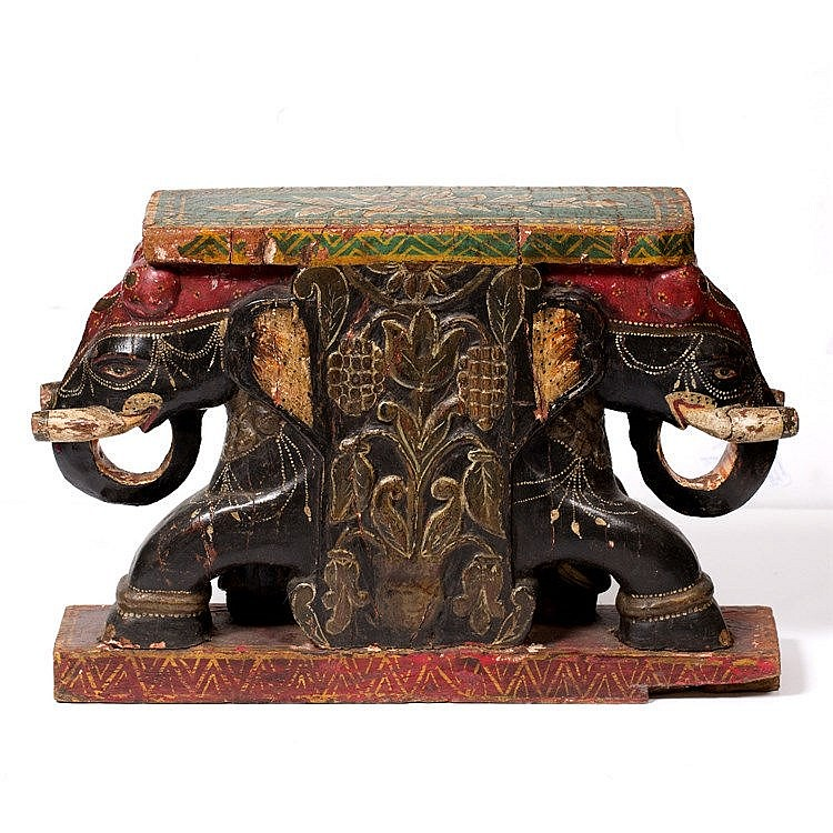A Tibetan painted bench end