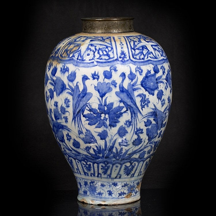 A large Safavid blue and white baluster vase