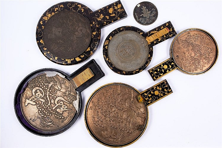 Five Japanese bronze hand mirrors