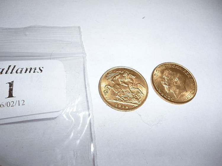 TWO 1914 HALF SOVEREIGNS