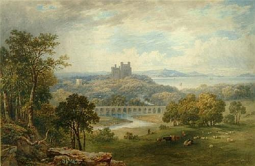 MARIA GASTINEAU (1824-1890), 'Penrhyn Castle looking towards Anglesey', signed and dated 1861, watercolour, 18in x 27in. (see illustration)