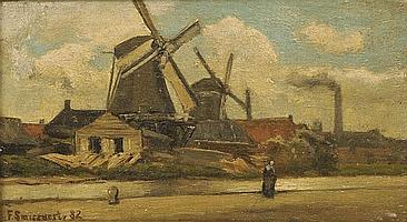 FRANS SMISSAERT (1862-1944) Windmills by a canal,