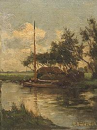 FRANS SMISSAERT (1862-1944) A sailing boat moored