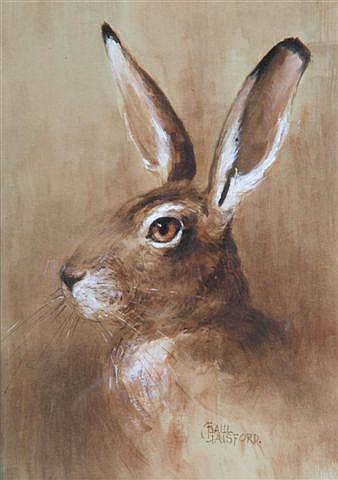 PAUL GAISFORD (b 1941) Head study of a hare,
