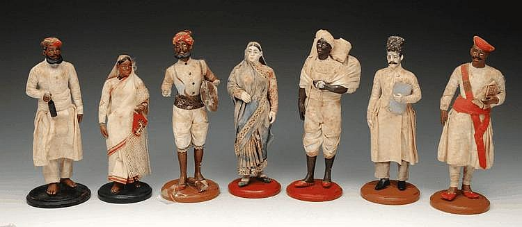 A COLLECTION OF SEVEN INDIAN POTTERY MODEL Sikhs