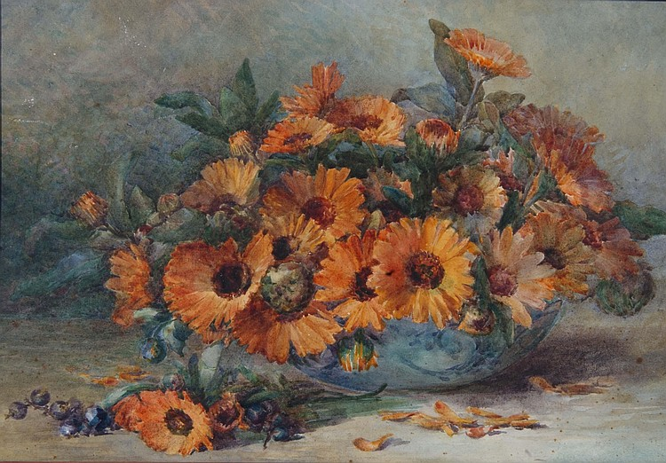 MARIE HENSLEY (c.1856-1911) Orange calendula in a