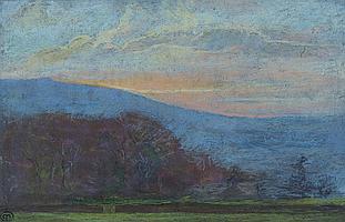 MARY YATES (1891-?) Hart Head Farm, monogrammed