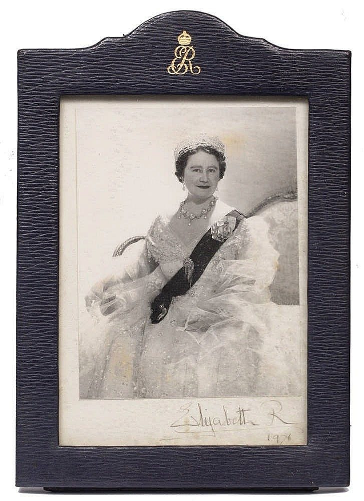 A BLACK AND WHITE PHOTOGRAPH OF ELIZABETH, THE QUEEN MOTHER, signed and dat