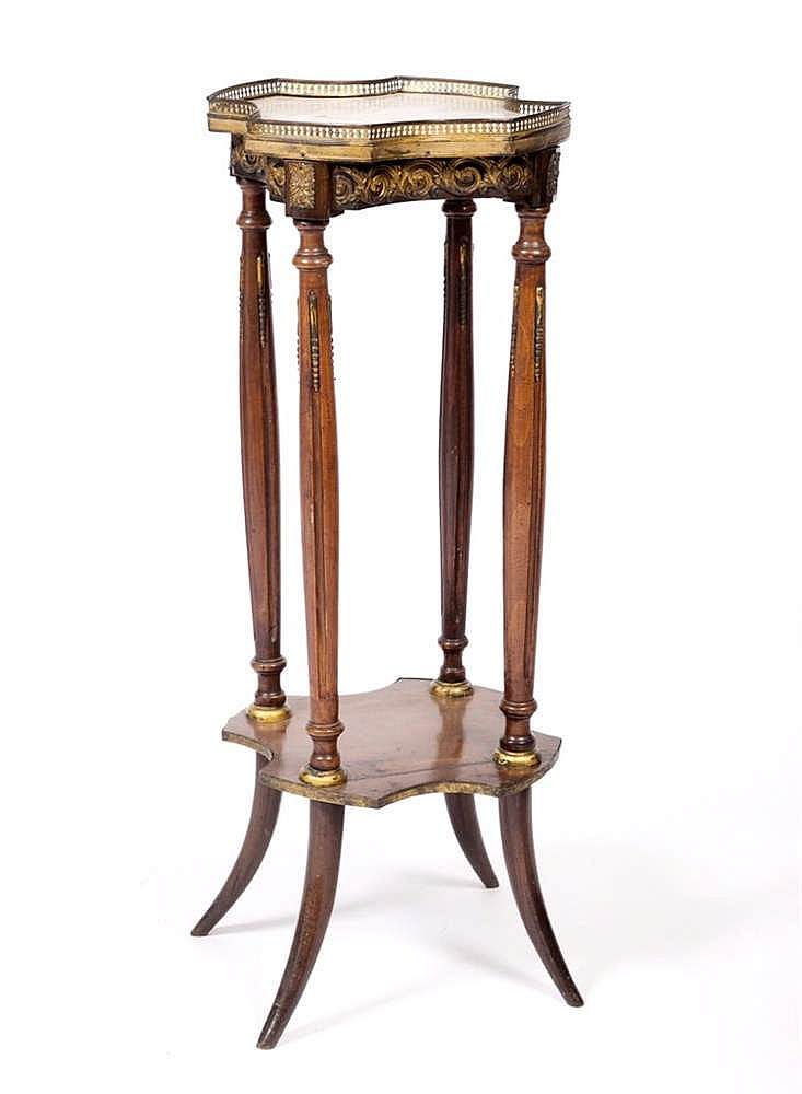 A FRENCH TWO TIER JARDINIERE STAND with galleried white marble top on flute