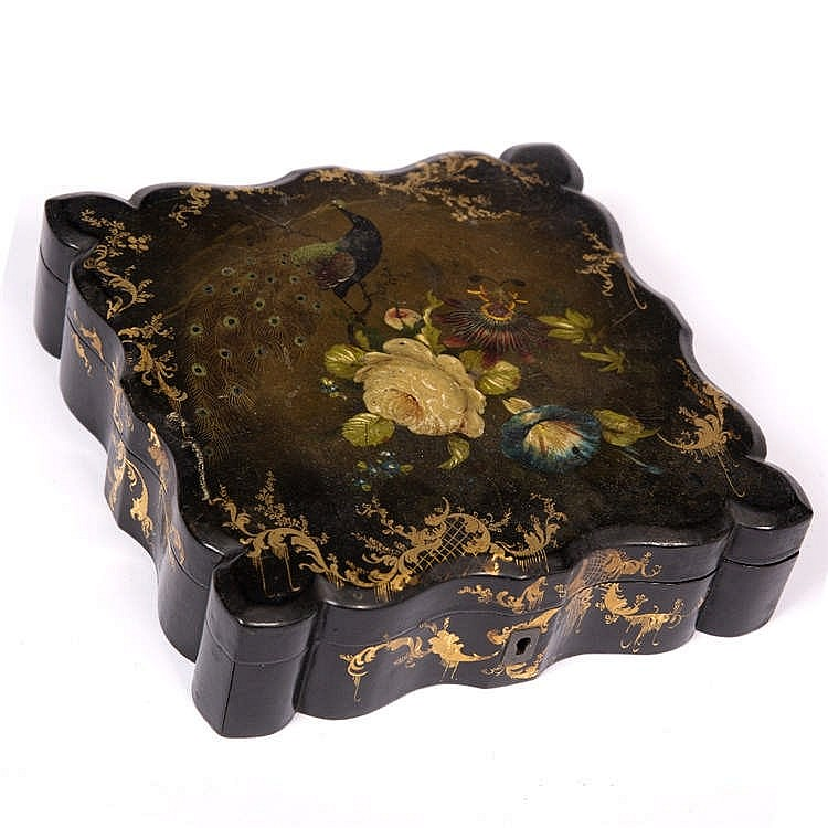 A VICTORIAN BLACK AND POLYCHROME LACQUERED CARD BOX, painted and gilt heigh