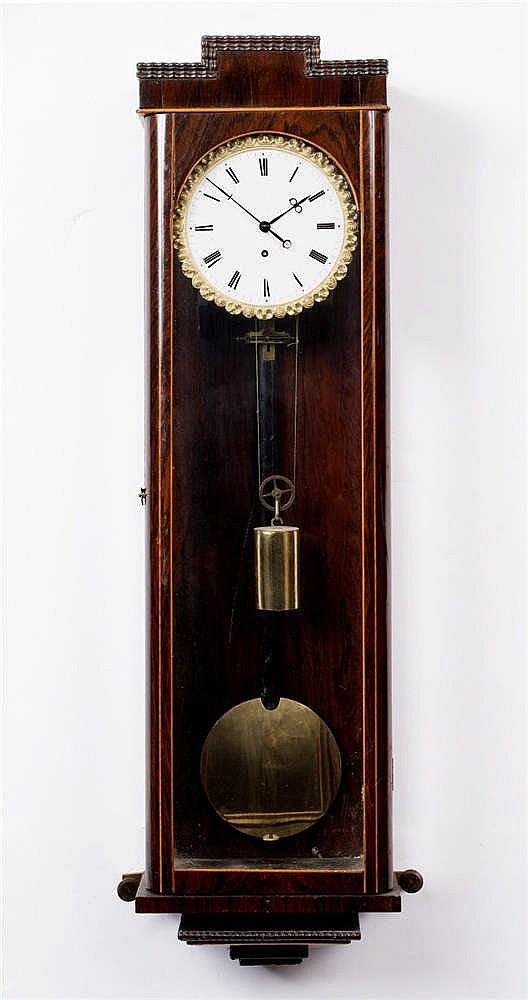 A 19TH CENTURY VIENNA REGULATOR TIMEPIECE with white enamel Roman dial, gil
