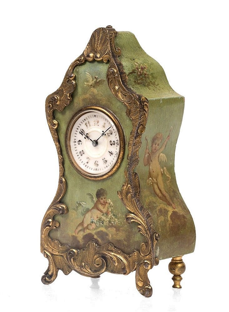 A LATE 19TH CENTURY FRENCH BOUDOIR TIMEPIECE with circular white enamel Got