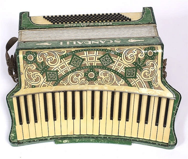 A 1930'S ITALIAN SCANDALLI SCOTT WOOD FOUR VINTAGE ACCORDION with curved ke