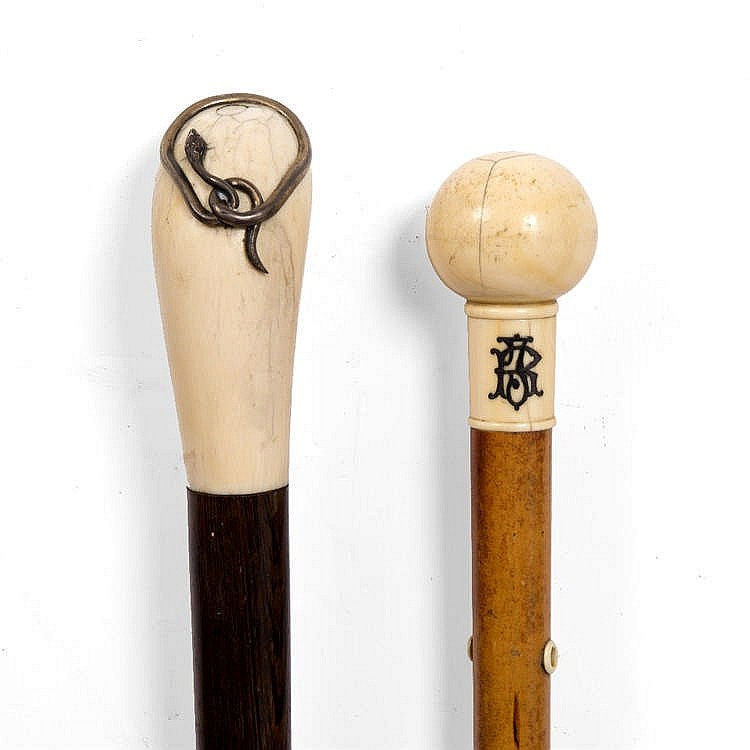 A 19TH CENTURY IVORY HANDLED CANE with silver snake ornament and rosewood s