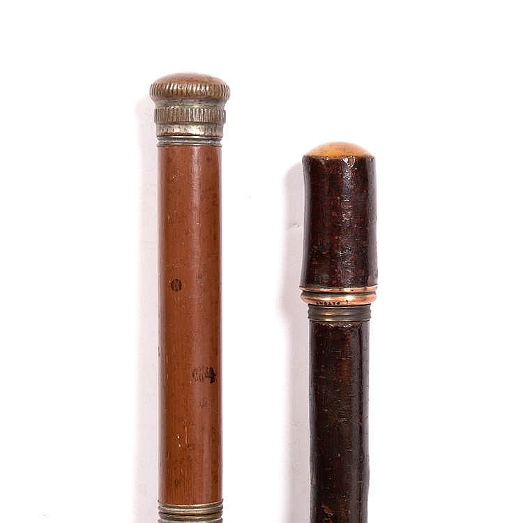 AN ANTIQUE MALACCA SECRET DRINKERS CANE with concealed tubular flask and mi
