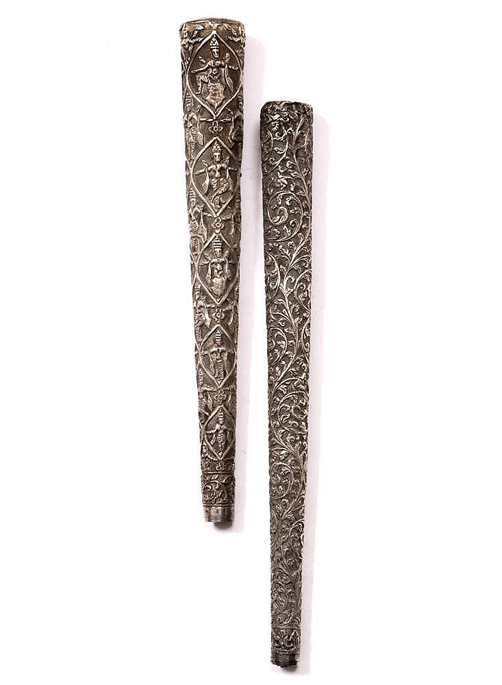 TWO 19TH CENTURY NORTHERN INDIAN SILVER CANE HANDLES of tapering form with
