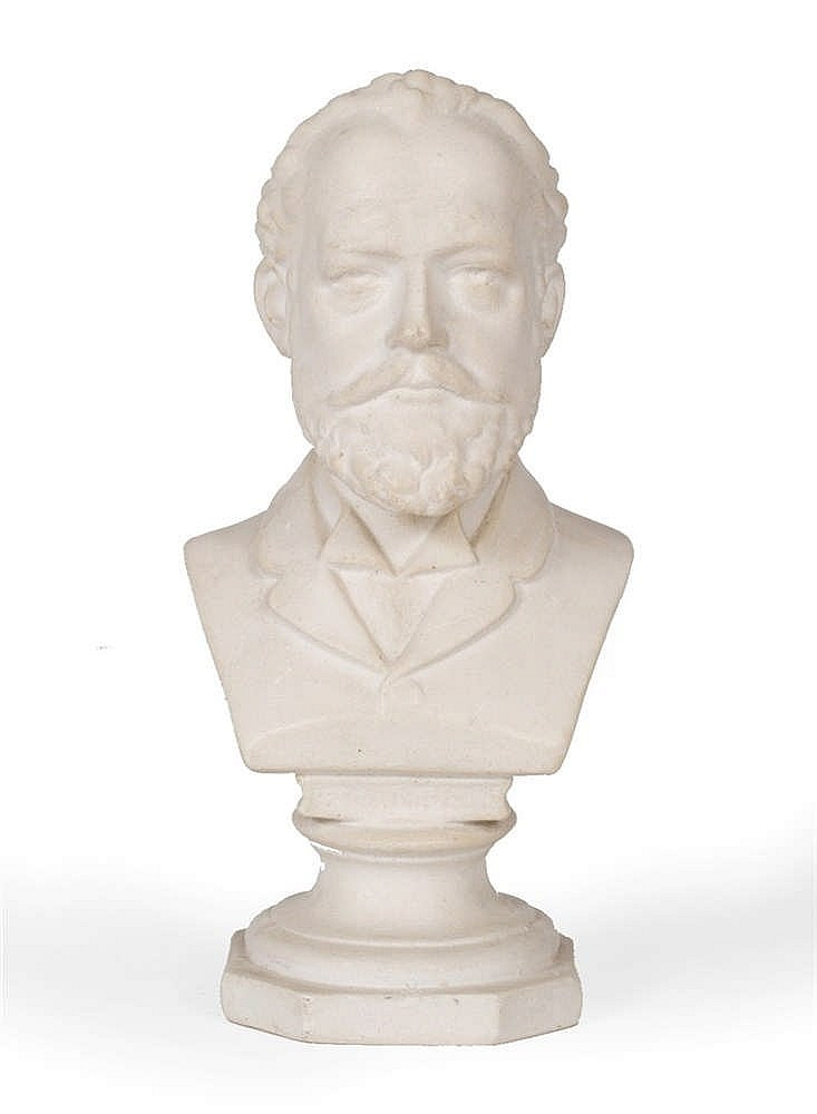 A COMPOSITION SMALL BUST modelled as Tchaikovsky, 20cm high