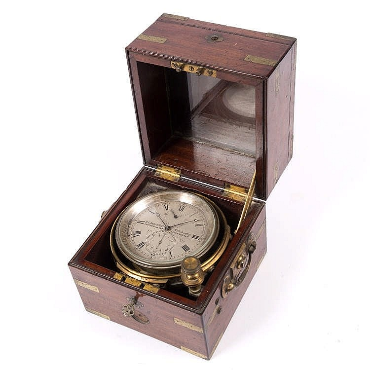 A VICTORIAN TWO DAY MARINE CHRONOMETER the silvered Roman dial signed R. A.