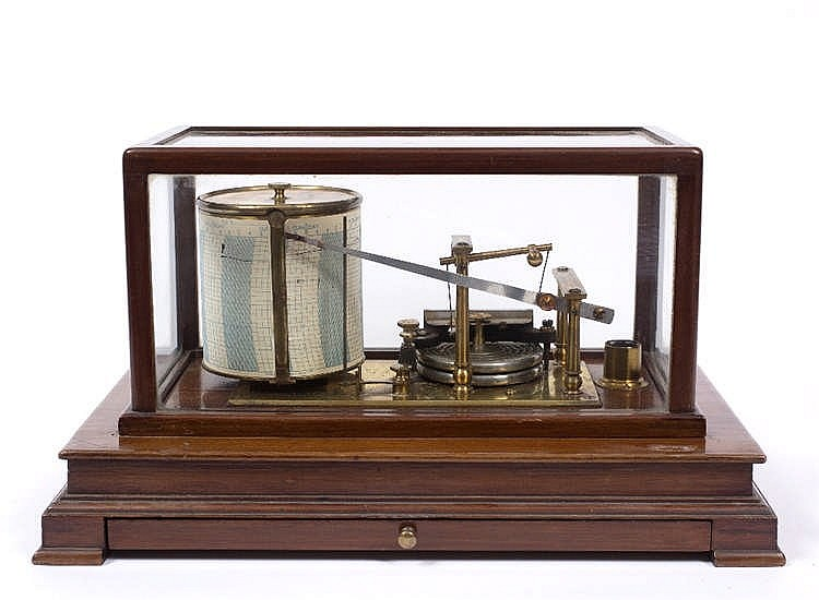 AN EARLY 20TH CENTURY MAHOGANY CASED BAROGRAPH the base with chart drawer a