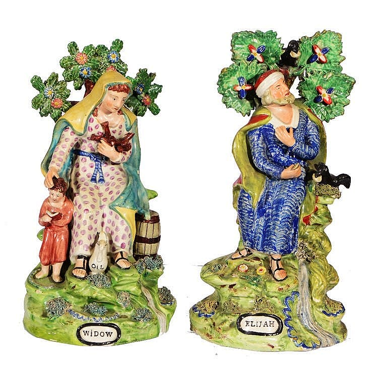 A PAIR OF STAFFORDSHIRE WALTON POTTERY FIGURES of 'Elijah' and 'Widow', eac