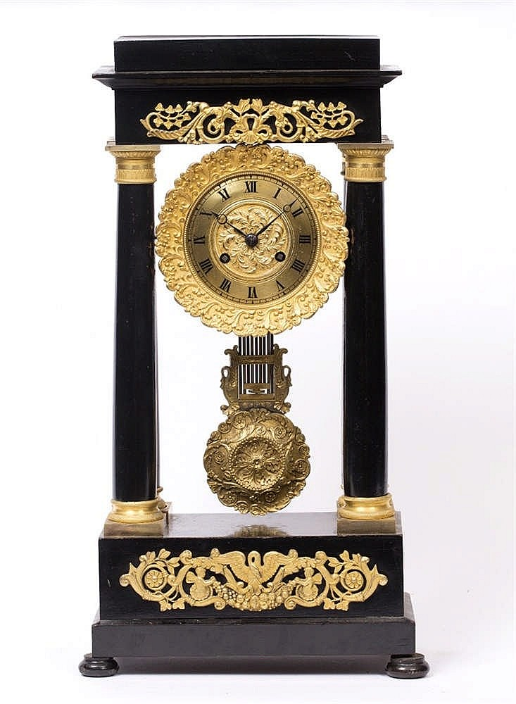 A 19TH CENTURY FRENCH PORTICO CLOCK with Roman dial, twin train movement an
