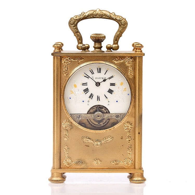 A LATE 19TH CENTURY FRENCH CARRIAGE TIMEPIECE the eight day Hebdomas type w