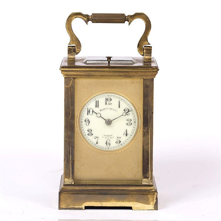 A LATE 19TH CENTURY FRENCH CARRIAGE CLOCK the dial signed Benetfink & Co.,