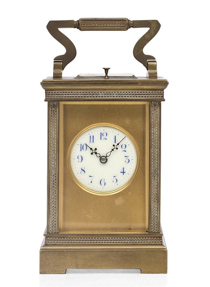 A LATE 19TH CENTURY FRENCH BRASS CASED CARRIAGE CLOCK the disc enamel dial
