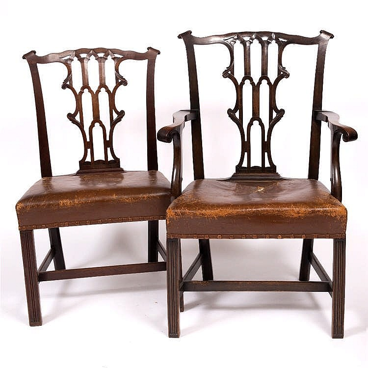A SET OF SIX GEORGE III MAHOGANY DINING CHAIRS, the backs with pierced and