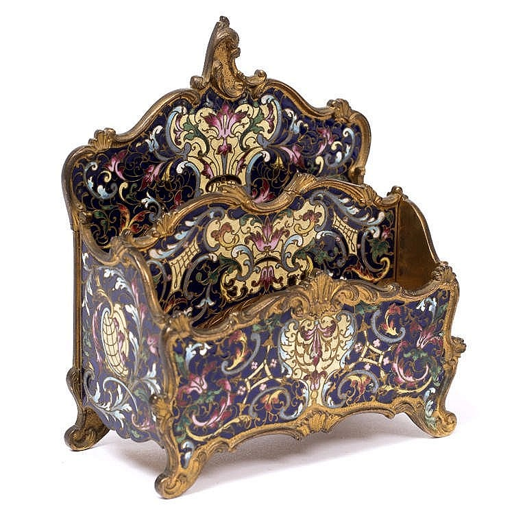 A LATE 19TH CENTURY FRENCH GILT METAL AND CHAMPLÊVÉ ENAMEL LETTER RACK, of